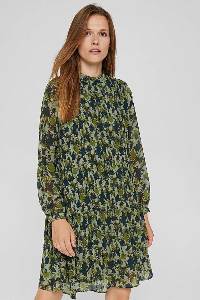 En matière recyclée: la robe plissée à imprimé, DUSTY GREEN, detail image number 0