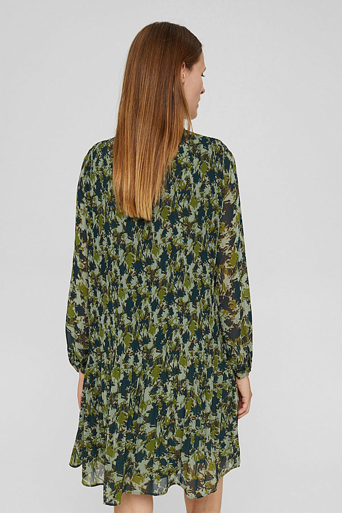 En matière recyclée: la robe plissée à imprimé, DUSTY GREEN, detail image number 2