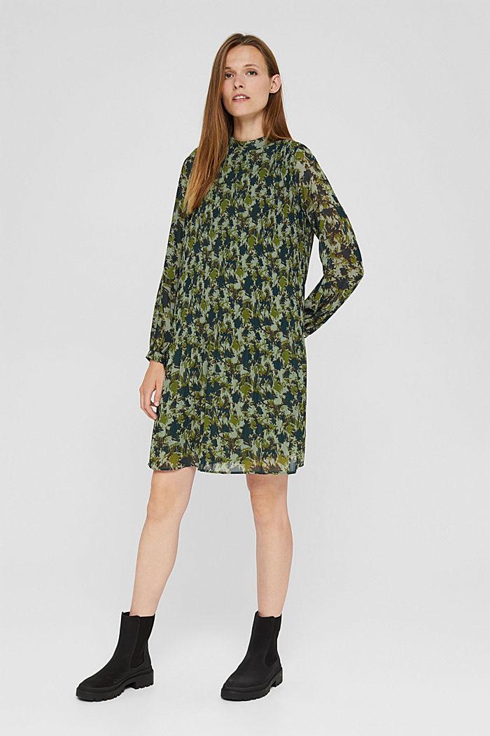 En matière recyclée: la robe plissée à imprimé, DUSTY GREEN, detail image number 1