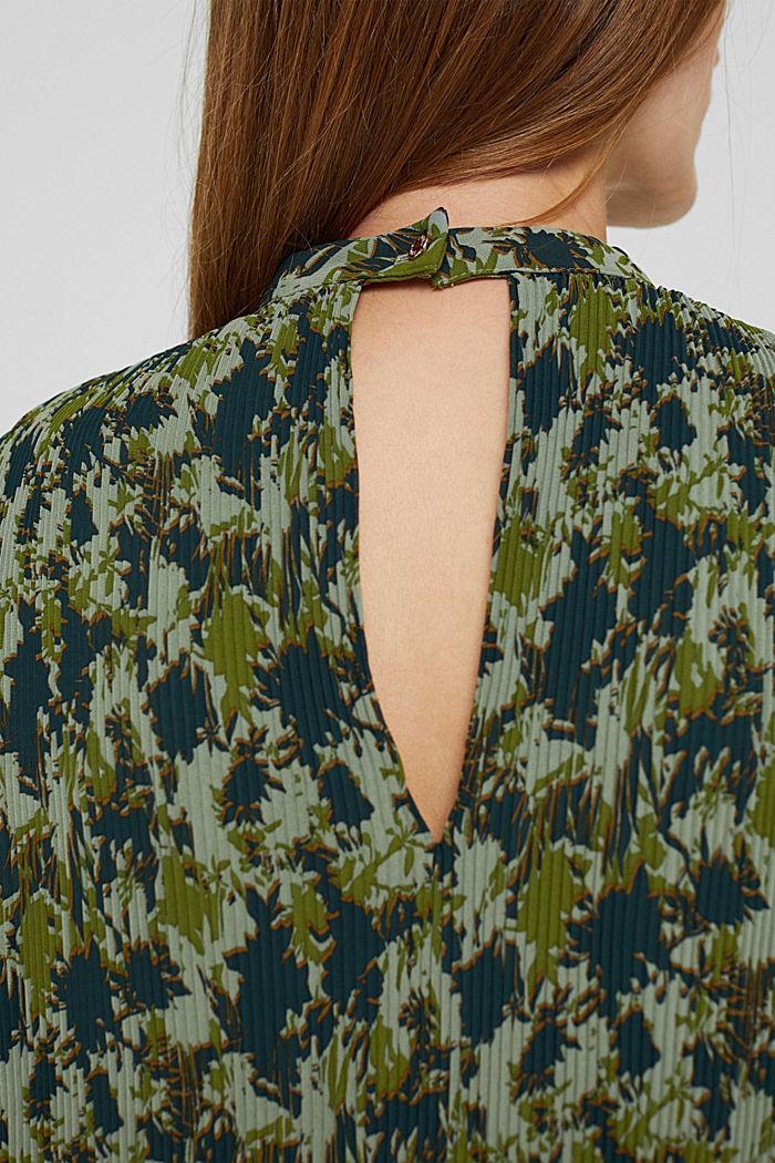 En matière recyclée: la robe plissée à imprimé, DUSTY GREEN, detail image number 3