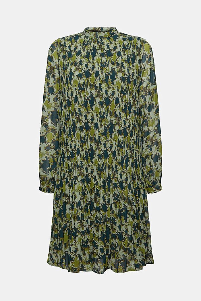 En matière recyclée: la robe plissée à imprimé, DUSTY GREEN, detail image number 6