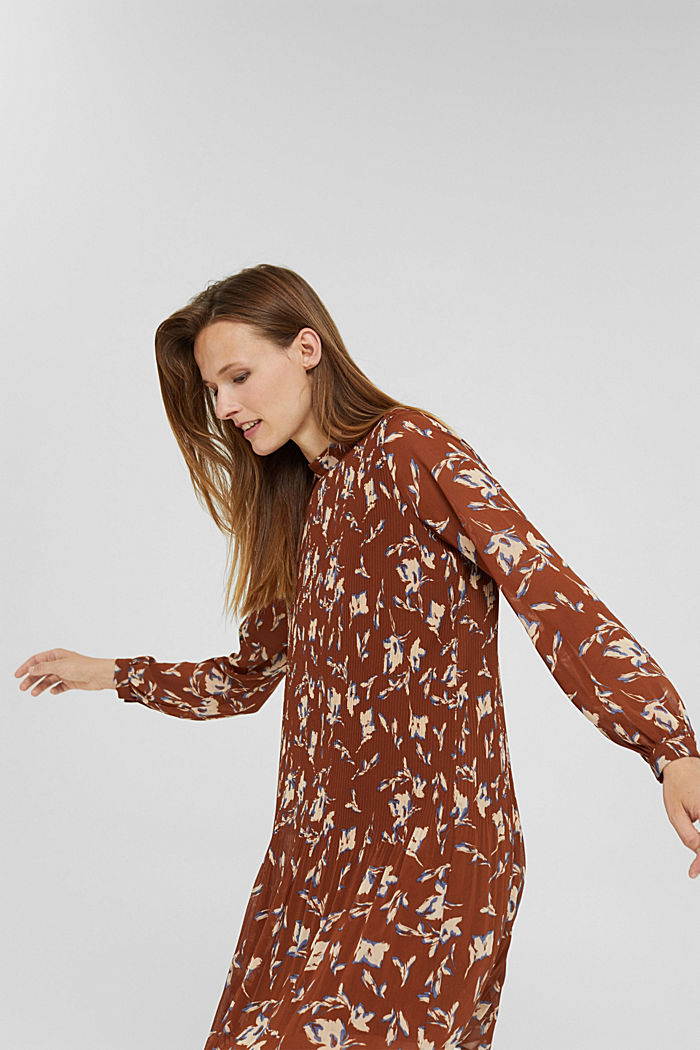 En matière recyclée: la robe plissée à imprimé, TERRACOTTA, detail image number 4