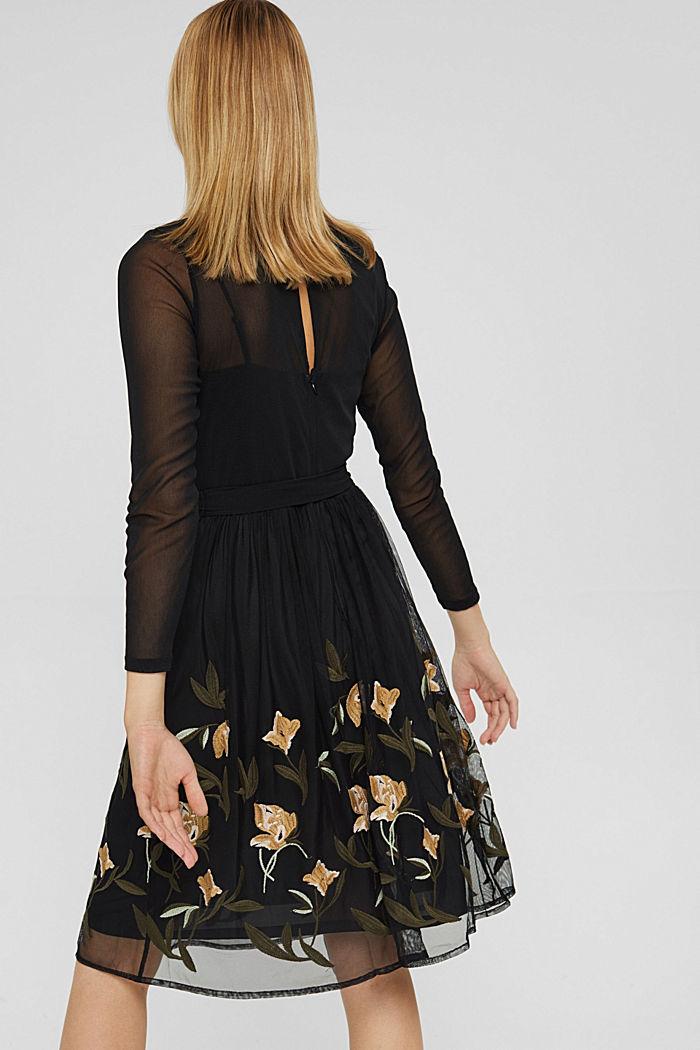 Vestido de malla con bordado de flores, BLACK, detail image number 2