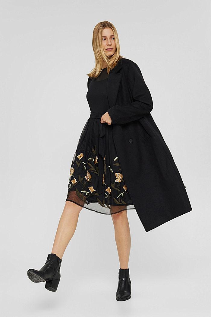 Vestido de malla con bordado de flores, BLACK, detail image number 1