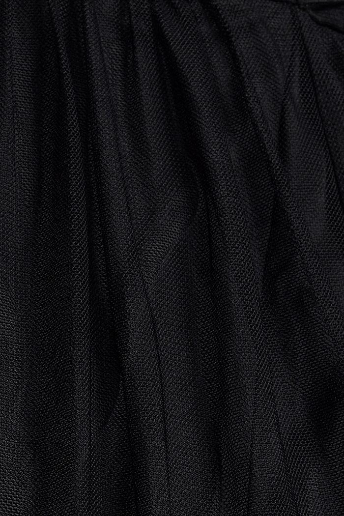Vestido de malla con bordado de flores, BLACK, detail image number 4