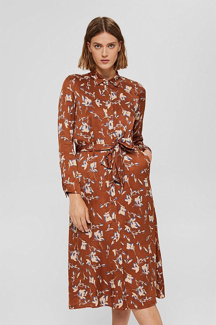 Floral bedrucktes Hemdblusenkleid aus Satin
