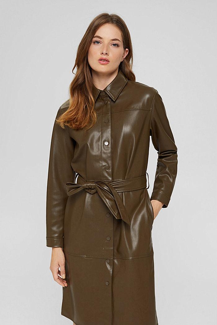 Faux leather shirt dress, vegan, DARK KHAKI, detail image number 0