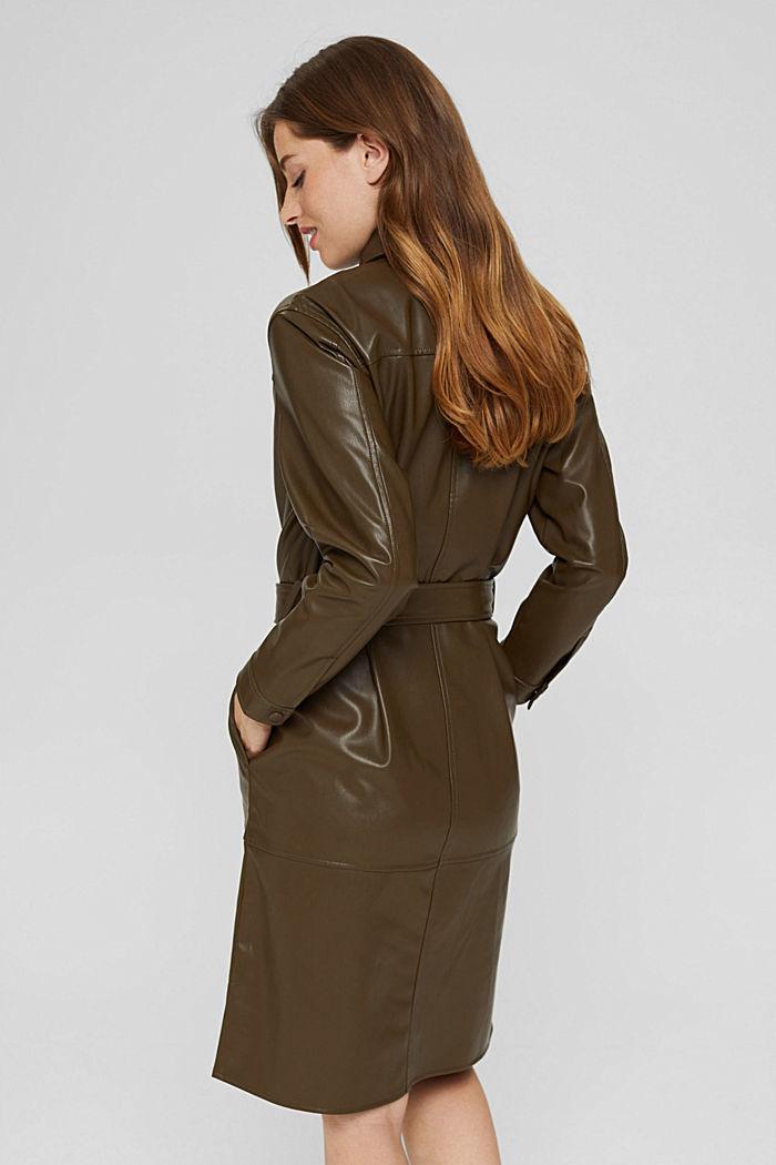Faux leather shirt dress, vegan, DARK KHAKI, detail image number 3
