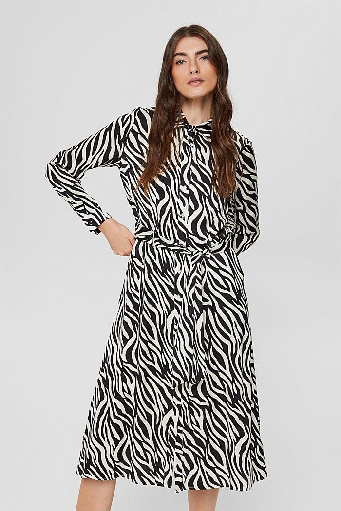 Vestido camisero con estética animal, LENZING™ ECOVERO™, BLACK, detail image number 0