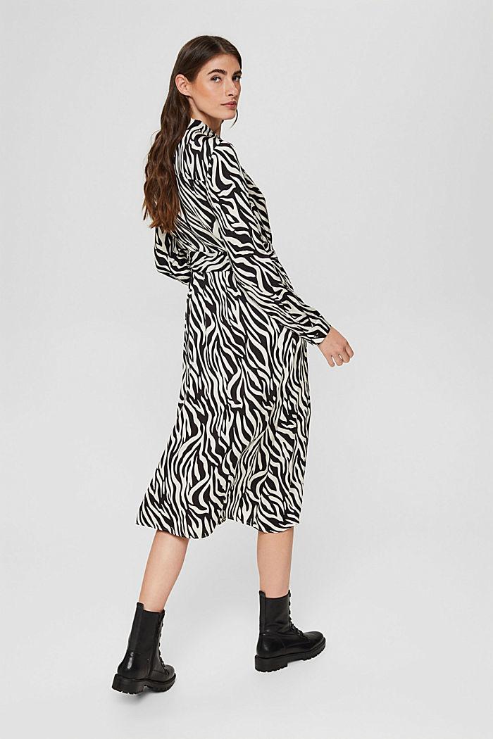 Vestido camisero con estética animal, LENZING™ ECOVERO™, BLACK, detail image number 3