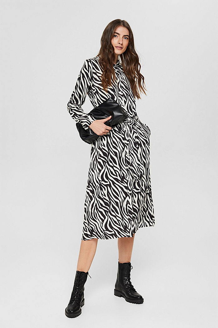 Vestido camisero con estética animal, LENZING™ ECOVERO™, BLACK, detail image number 1