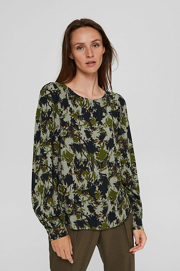 Print-Bluse mit LENZING™ ECOVERO™, DUSTY GREEN, detail image number 0