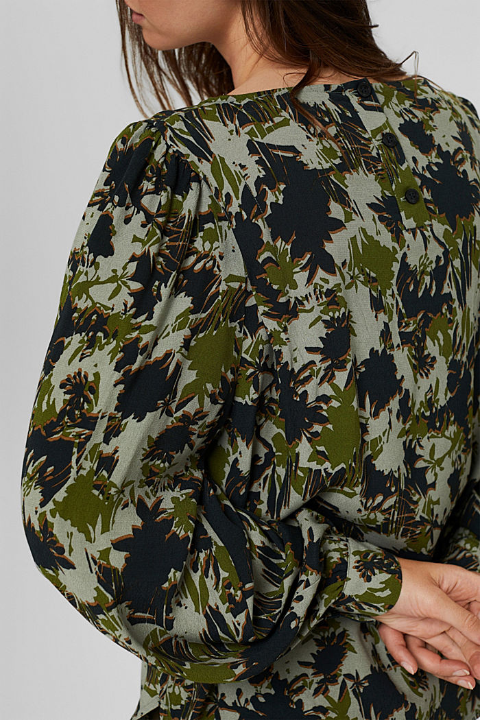 Print-Bluse mit LENZING™ ECOVERO™, DUSTY GREEN, detail image number 2