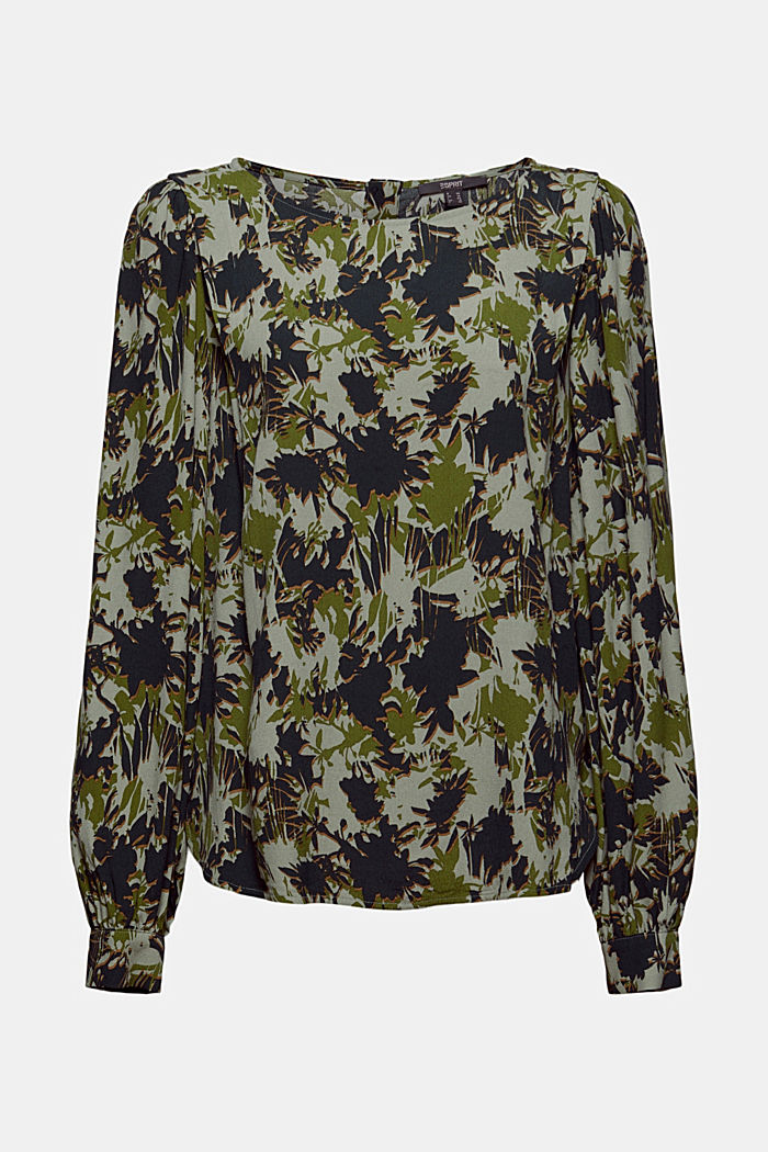 Print-Bluse mit LENZING™ ECOVERO™, DUSTY GREEN, detail image number 5