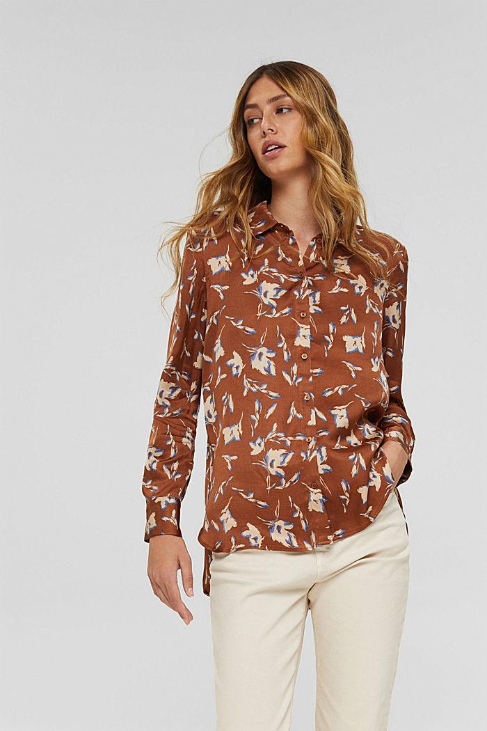 Satijnen overhemdblouse met LENZING™ ECOVERO™, TERRACOTTA, detail image number 0