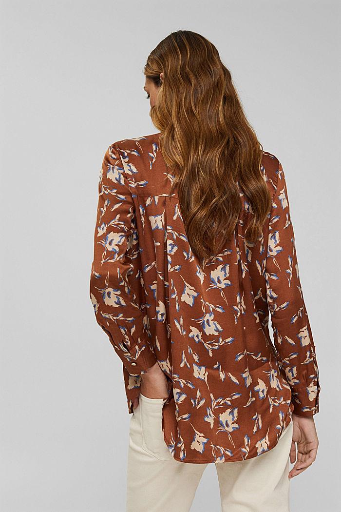 Satijnen overhemdblouse met LENZING™ ECOVERO™, TERRACOTTA, detail image number 3