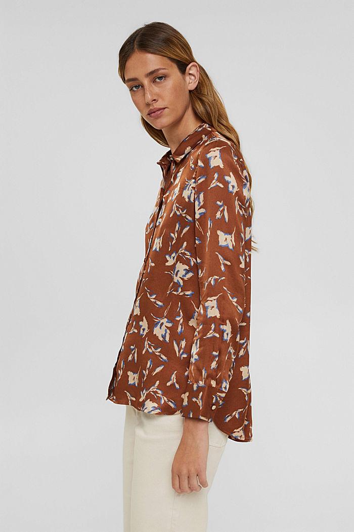 Satijnen overhemdblouse met LENZING™ ECOVERO™, TERRACOTTA, detail image number 5