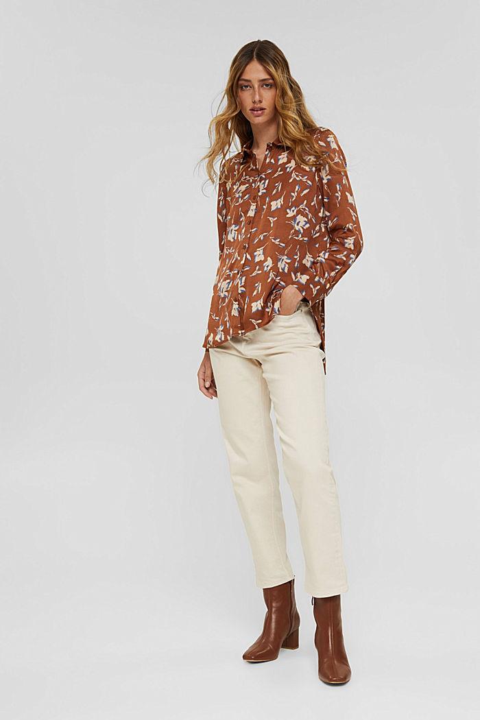 Satijnen overhemdblouse met LENZING™ ECOVERO™, TERRACOTTA, detail image number 8