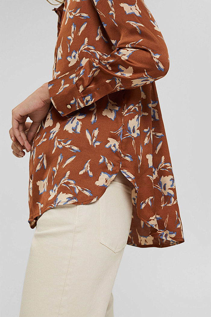 Satijnen overhemdblouse met LENZING™ ECOVERO™, TERRACOTTA, detail image number 2