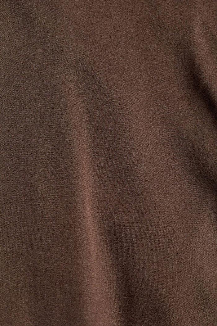 Relaxte Satinbluse mit LENZING™ ECOVERO™, DARK BROWN, detail image number 4