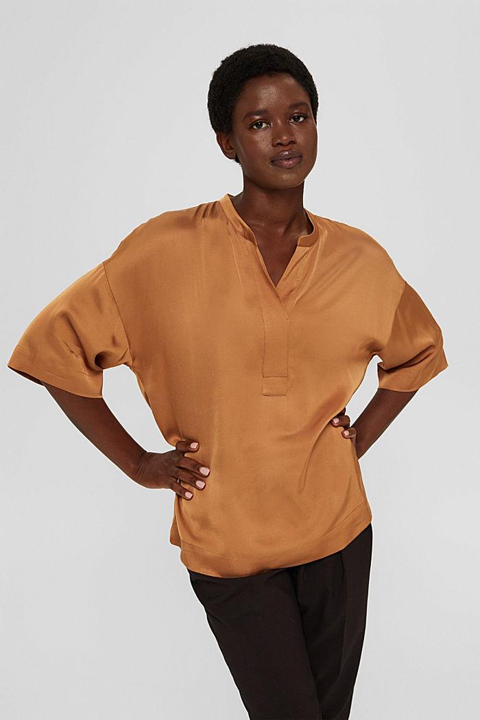 Relaxte satijnen blouse met LENZING™ ECOVERO™, CARAMEL, detail image number 0