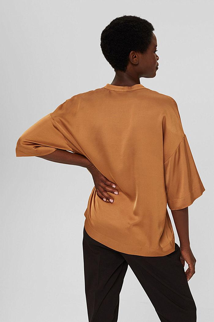 Relaxte satijnen blouse met LENZING™ ECOVERO™, CARAMEL, detail image number 3