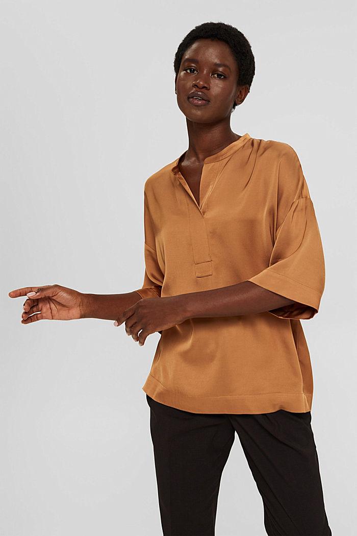 Relaxte satijnen blouse met LENZING™ ECOVERO™, CARAMEL, detail image number 5