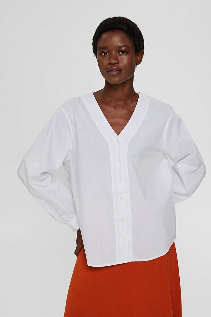 Blusa de popelina con mangas abullonadas, WHITE, detail image number 0