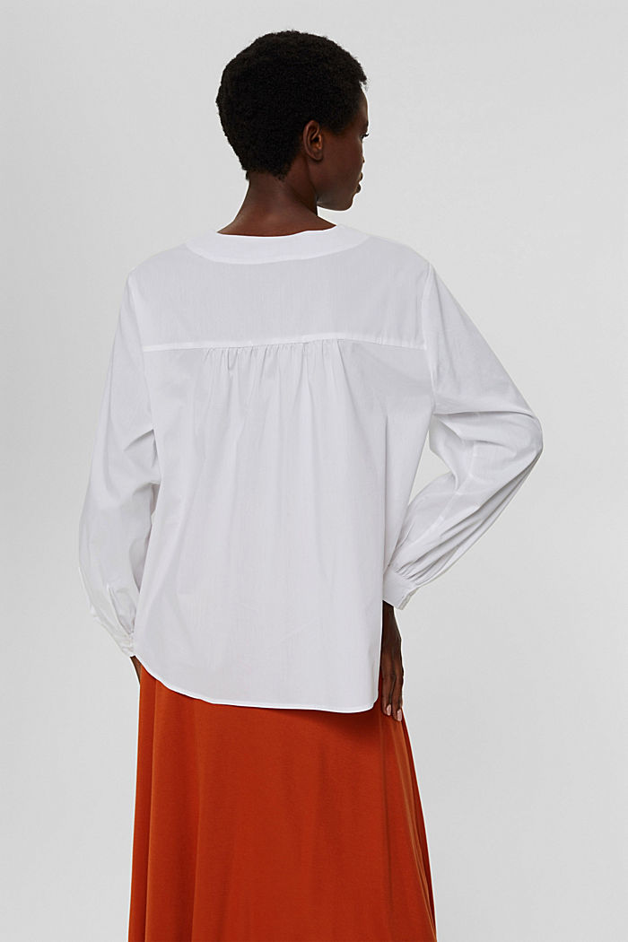 Blusa de popelina con mangas abullonadas, WHITE, detail image number 3