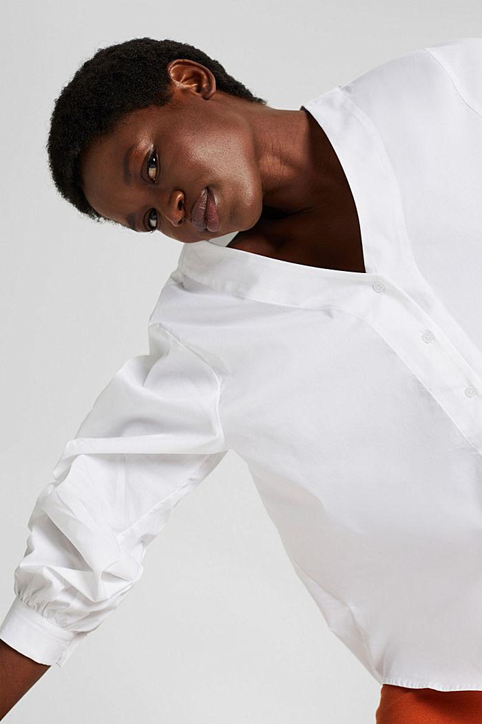 Blusa de popelina con mangas abullonadas, WHITE, detail image number 5