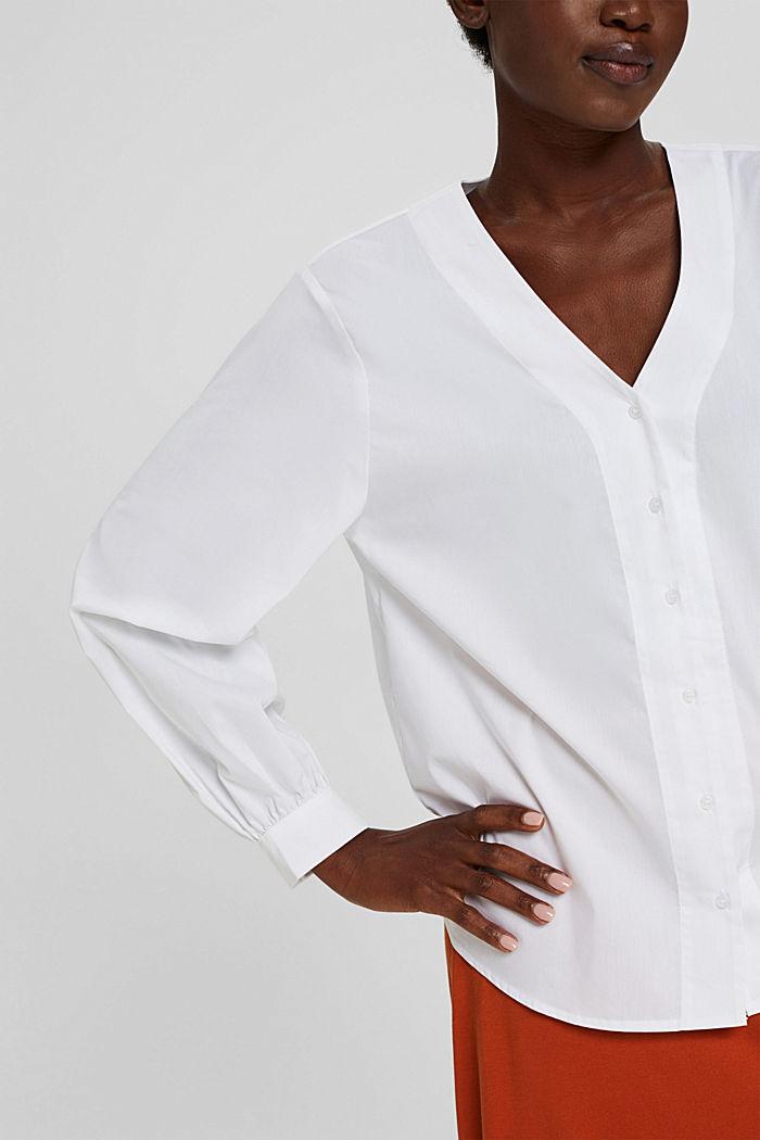 Blusa de popelina con mangas abullonadas, WHITE, detail image number 2