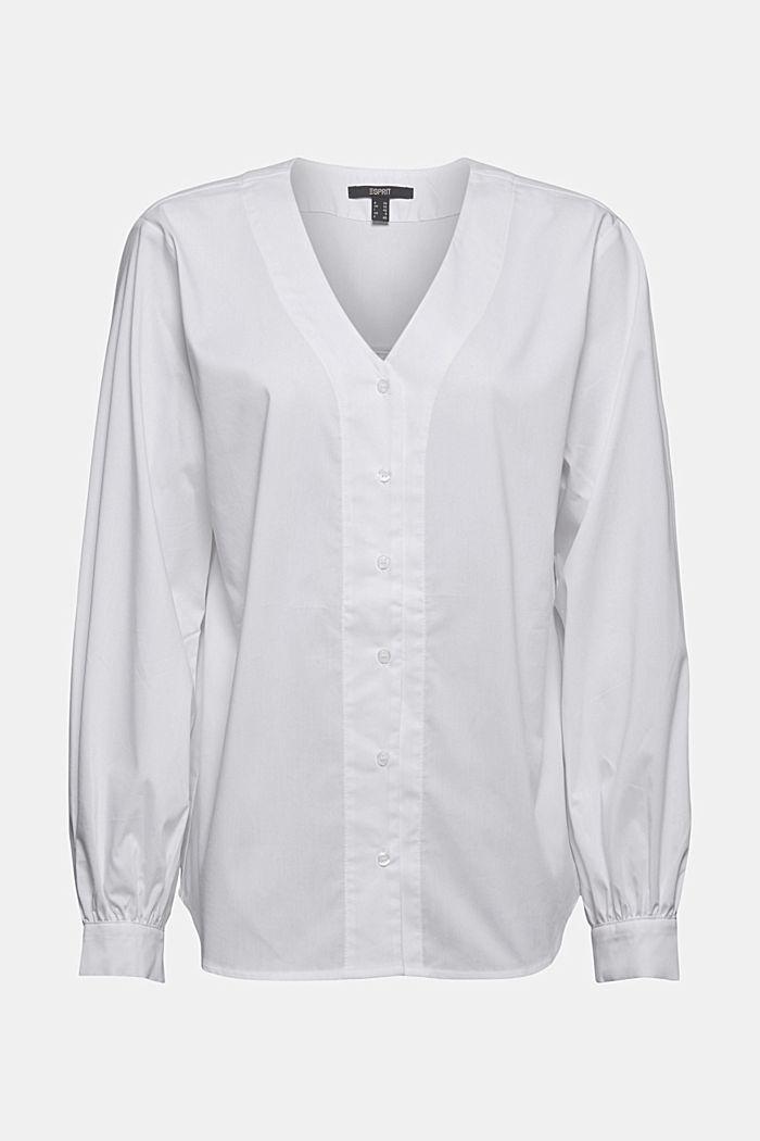 Blusa de popelina con mangas abullonadas, WHITE, detail image number 6