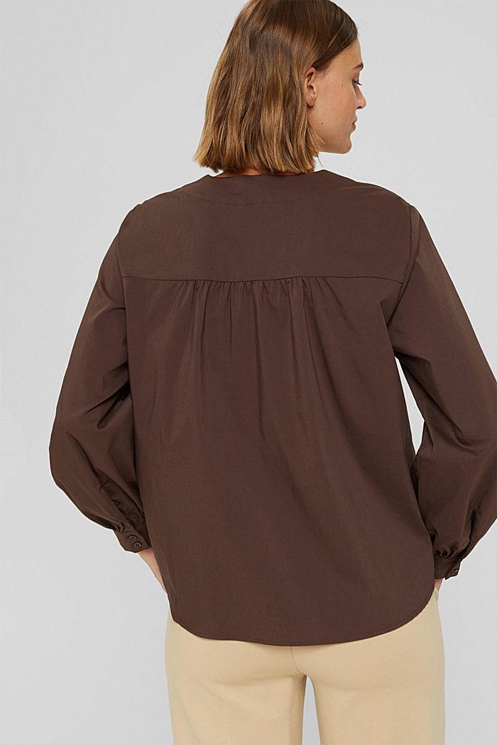 Blusa de popelina con mangas abullonadas, DARK BROWN, detail image number 3