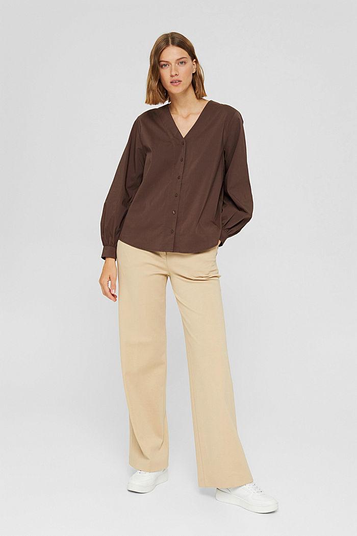 Blusa de popelina con mangas abullonadas, DARK BROWN, detail image number 1