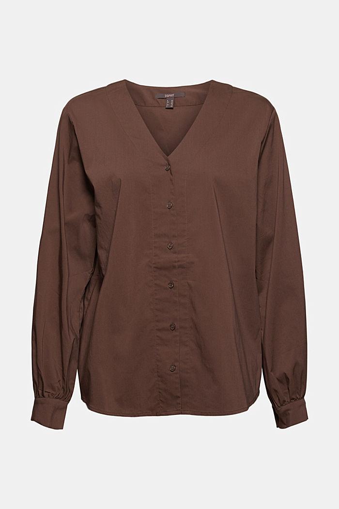 Blusa de popelina con mangas abullonadas