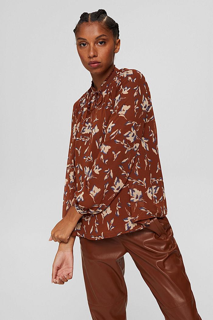 Gerecycled: chiffon blouse met bloemenprint, TERRACOTTA, detail image number 5