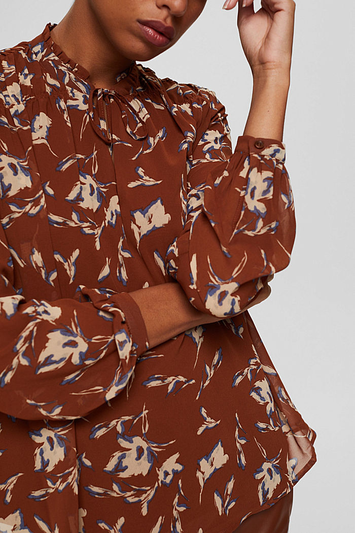 Gerecycled: chiffon blouse met bloemenprint, TERRACOTTA, detail image number 2