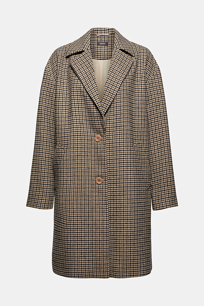 Recycled: checked blazer coat with wool