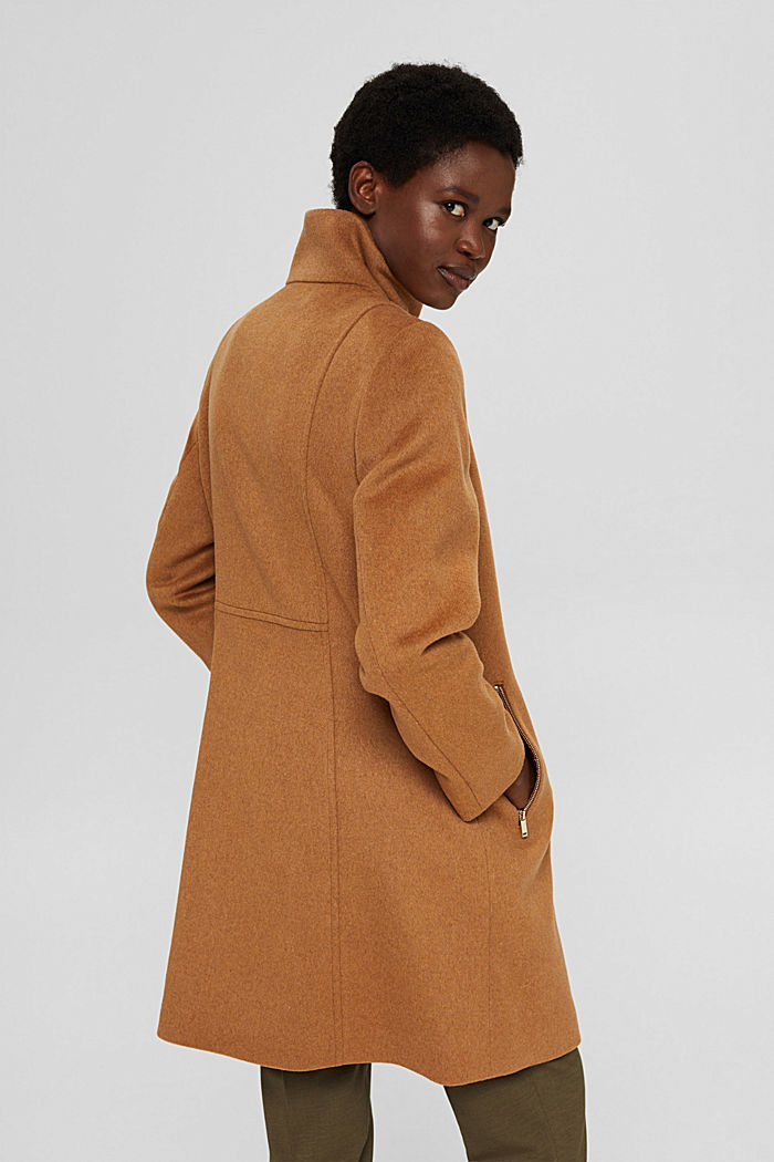 Recycled: blended wool coat with a zip, CARAMEL, detail image number 3