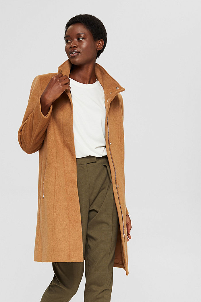 Recycled: blended wool coat with a zip, CARAMEL, detail image number 5