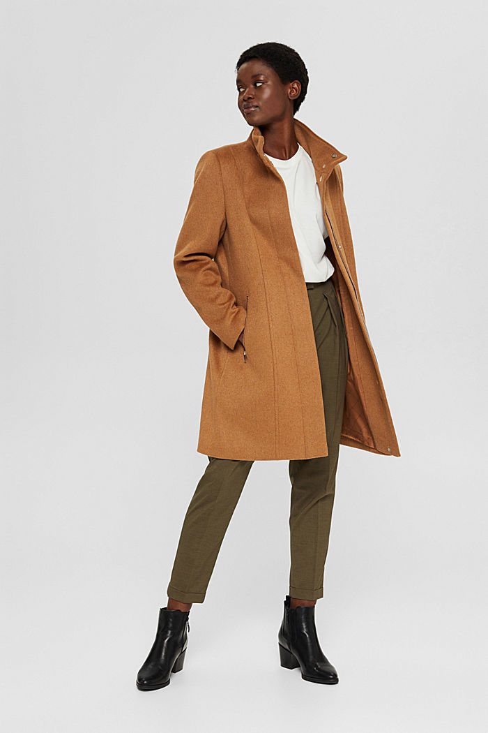 Recycled: blended wool coat with a zip, CARAMEL, detail image number 1