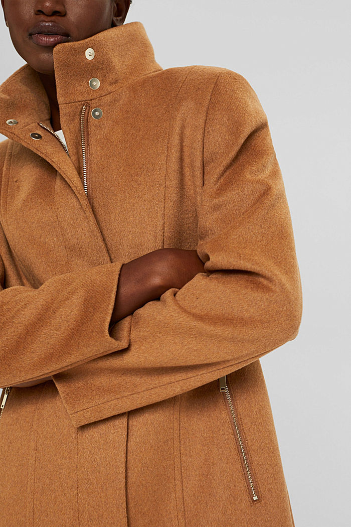 Recycled: blended wool coat with a zip, CARAMEL, detail image number 2