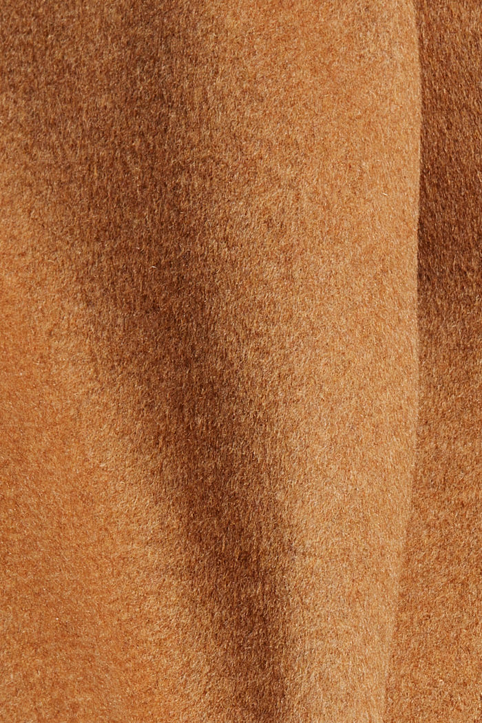 Recycled: blended wool coat with a zip, CARAMEL, detail image number 4