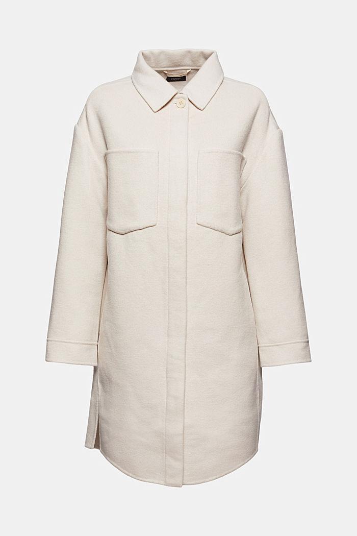 Återvunnet material: Lång skjortjacka i ullmix