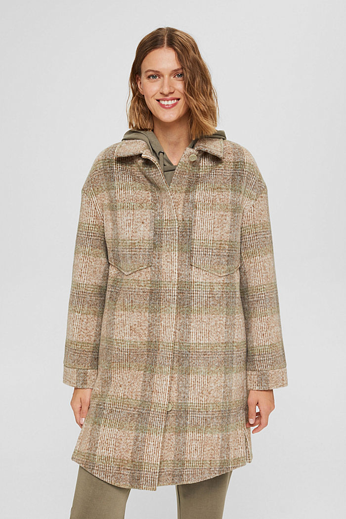 Met wol: geruite mantel in shacketstijl, ICE, detail image number 0