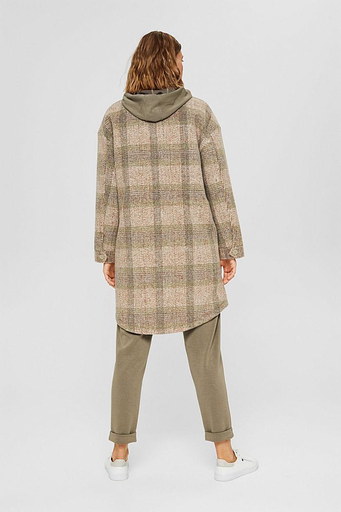 Met wol: geruite mantel in shacketstijl, ICE, detail image number 3