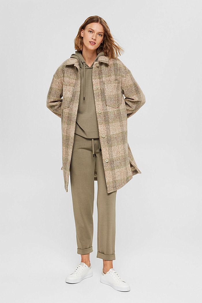 Met wol: geruite mantel in shacketstijl, ICE, detail image number 1