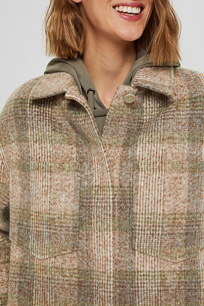 Met wol: geruite mantel in shacketstijl, ICE, detail image number 2