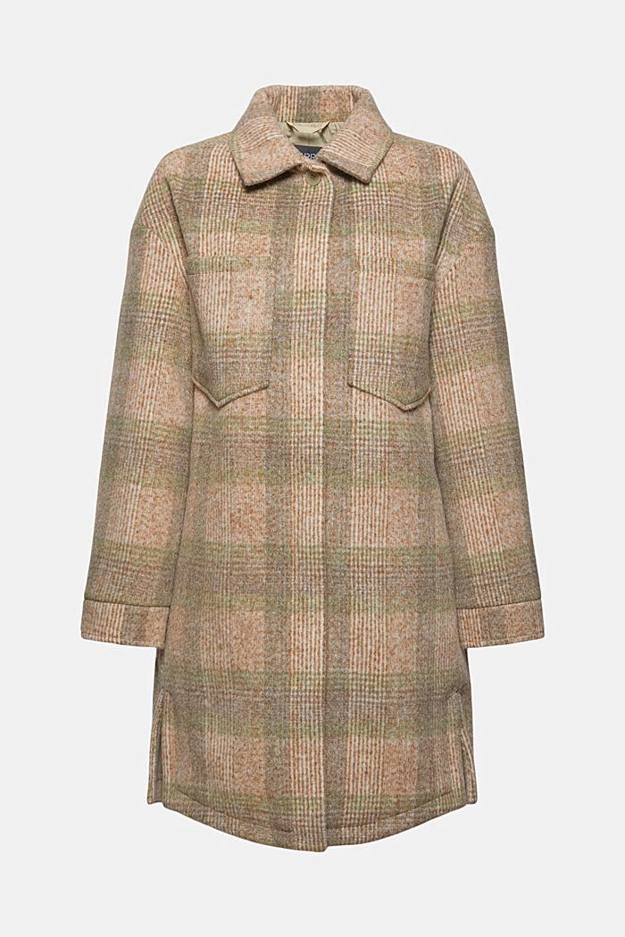 Met wol: geruite mantel in shacketstijl, ICE, detail image number 7