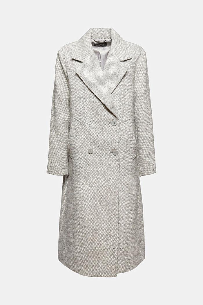 Met gerecyclede wol: double breasted mantel